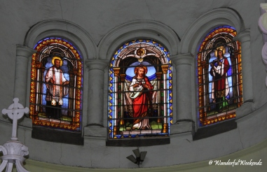 Stained glass windows inside the church