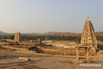 Virupaksha Temple bathed in the golden rays of the setting sun