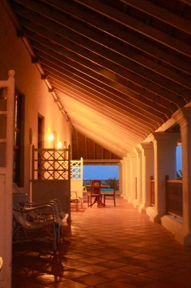 Evening lights on the Verandah of Bungalow on the Beach